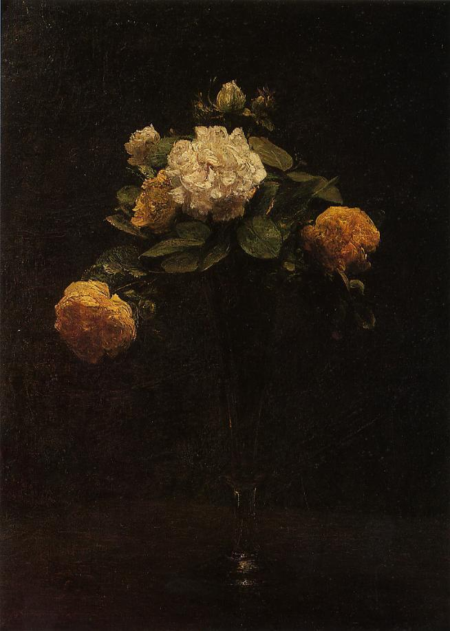 White and Yellow Roses in a Tall Vase 1876 | Henri Fantin Latour | Oil Painting