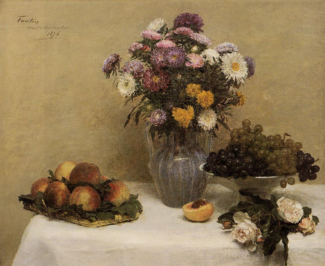 White Roses Chrysanthemums in a Vase Peaches and Grapes on a Table with a White Tablecloth 1876 | Henri Fantin Latour | Oil Painting