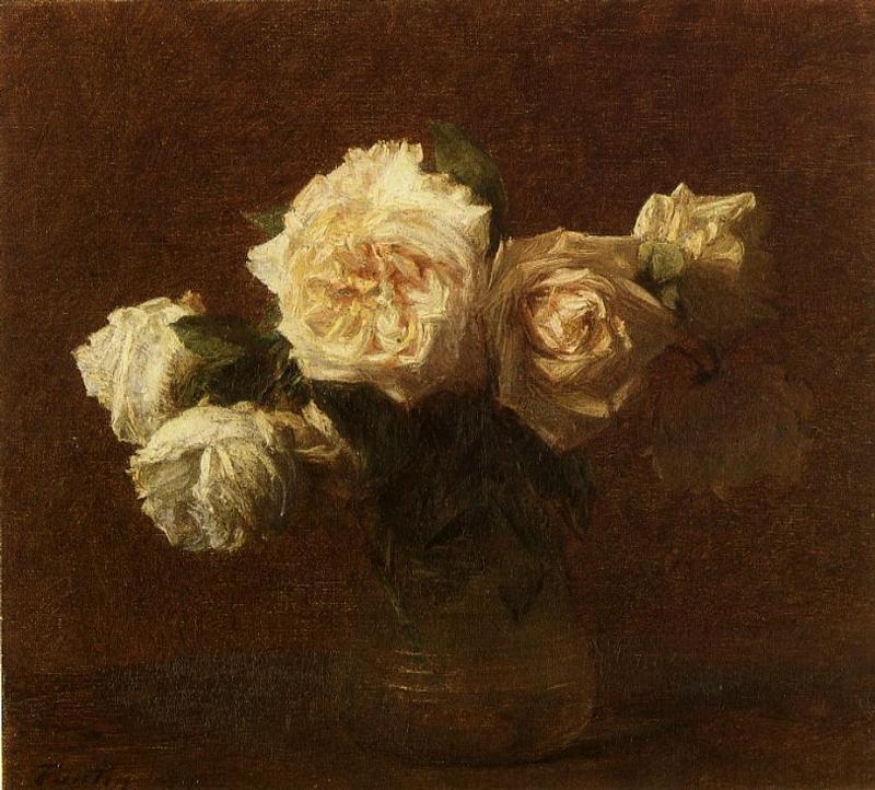 Yellow Pink Roses in a Glass Vase 1903 | Henri Fantin Latour | Oil Painting
