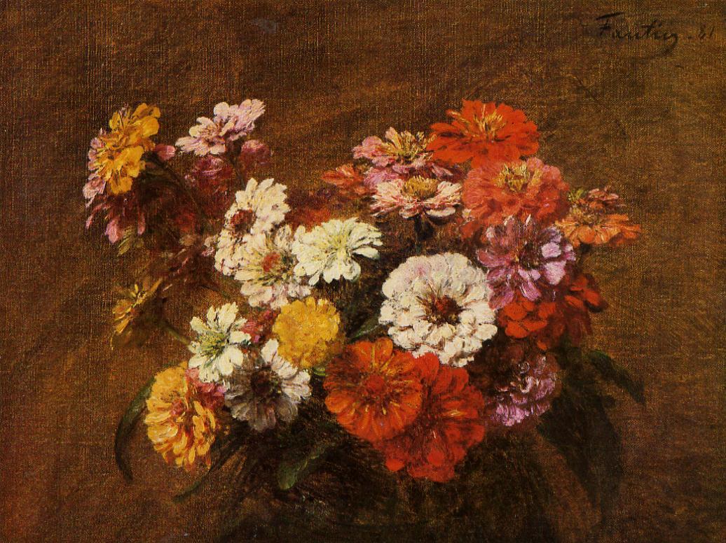 Zinnias in a Vase 1880 | Henri Fantin Latour | Oil Painting