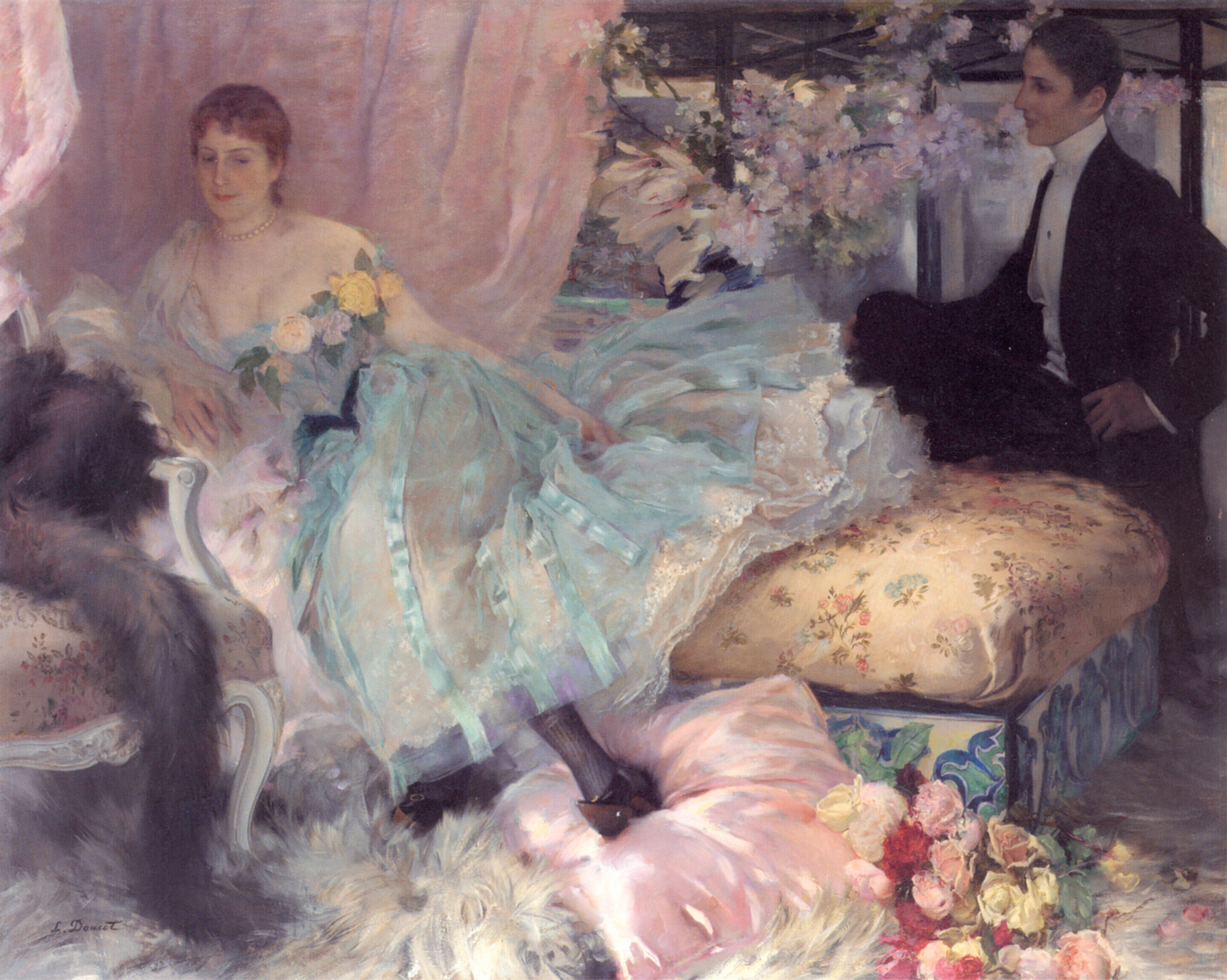 The Eager Suitor   Henri Lucien Doucet   Oil Painting