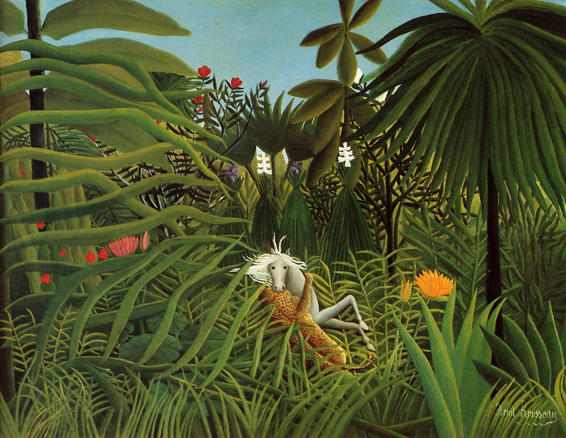 Horse Attacked by a Jaguar 1910 | Henri Rousseau | Oil Painting
