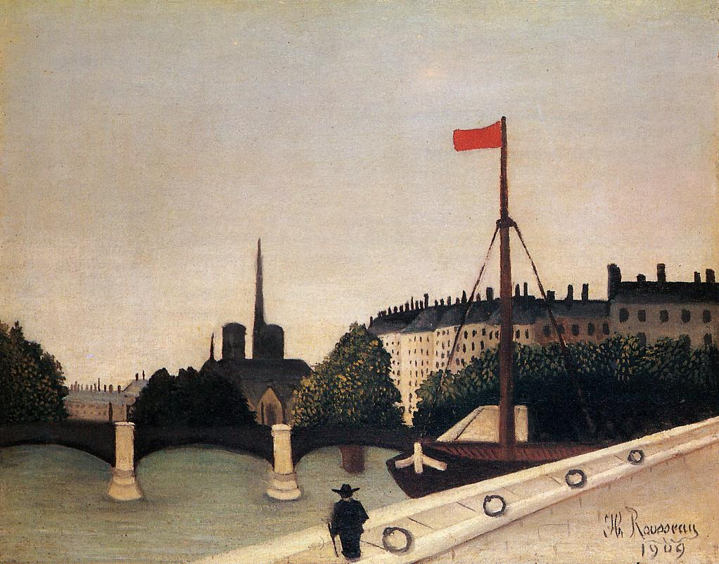 Notre Dame View of the Ile Saint-Louis from the Quai Henri IV 1909 | Henri Rousseau | Oil Painting