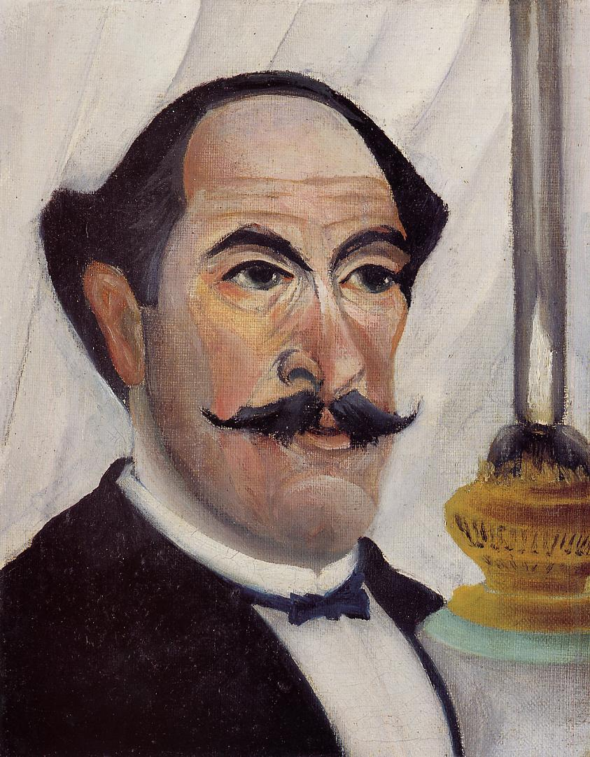 Self Portrait with a Lamp 1903 | Henri Rousseau | Oil Painting