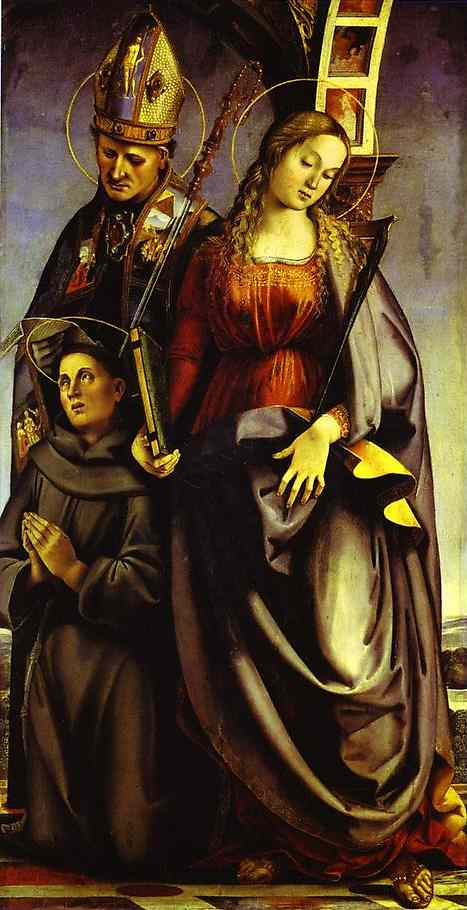 Ss Augustine Catherine Of Alexandria And Anthony Of Padua Right Wing Of The St Agosino Altarpiece 1498 | Luca Signorelli | Oil Painting