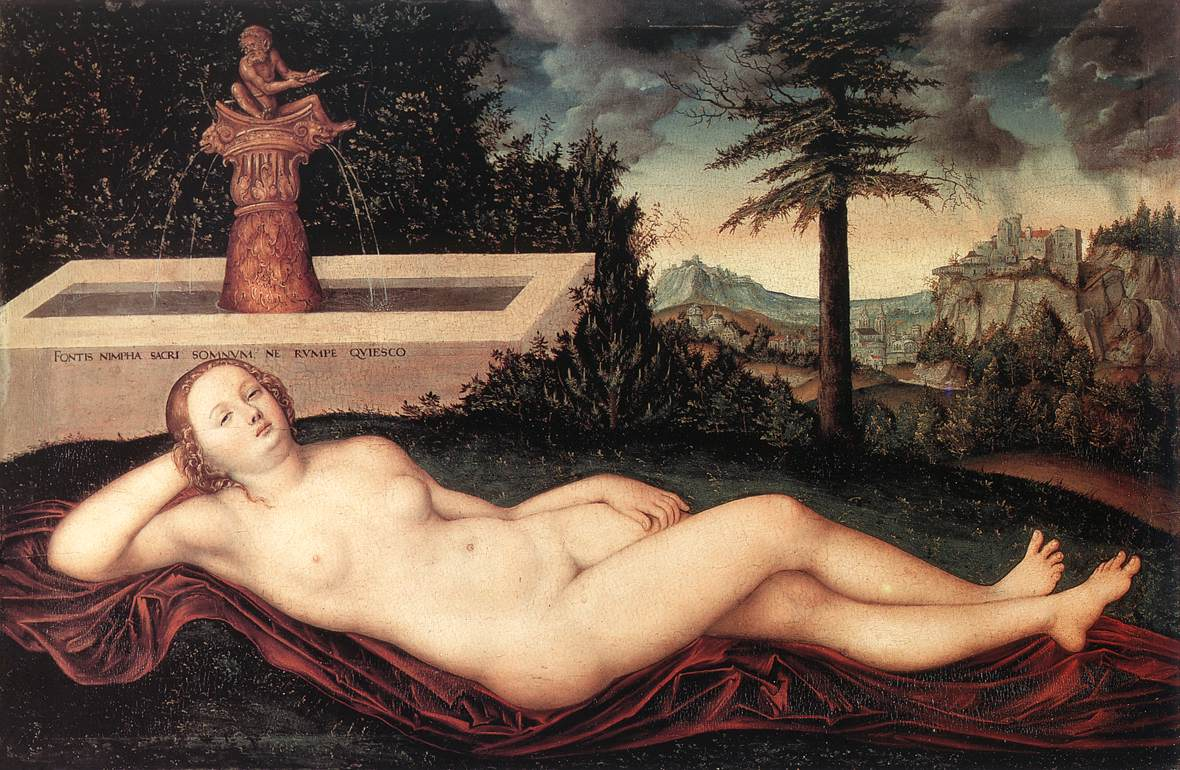 Reclining River Nymph At The Fountain | Lucas The Elder Cranach | Oil Painting