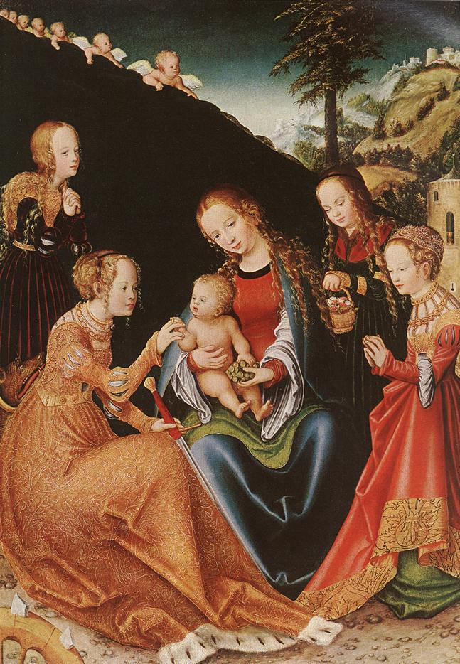 The Mystic Marriage Of St Catherine C 1347-1380 | Lucas The Elder Cranach | Oil Painting
