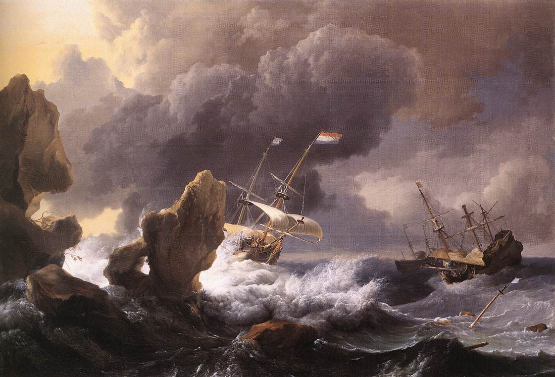 Ships In Distress Off A Rocky Coast 1667 | Ludolf Backhuysen | Oil Painting