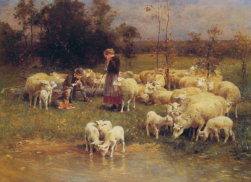 Guarding the Flock | Luigi Chialiva | Oil Painting