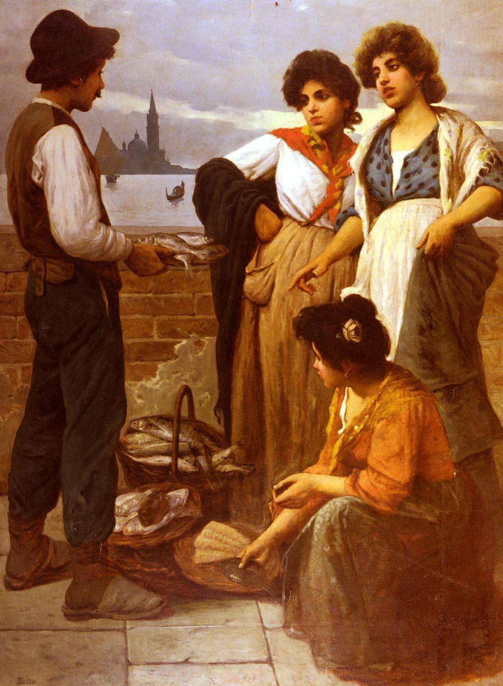The Fish Seller | Luigi Pastega | Oil Painting