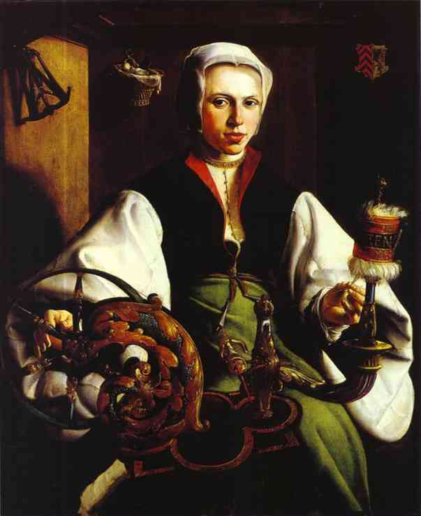 Portrait Of A Lady With A Spindle And Distaff 1531 | Maerten Jacobsz Van Heemskerch | Oil Painting
