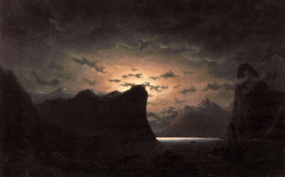 Fishing Near The Fjord By Moonlight | Marcus Larson | Oil Painting