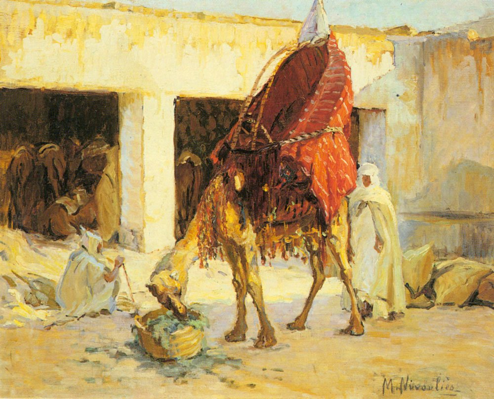 Arabs And Camels In A Courtyard | Marie Nivoulies | Oil Painting