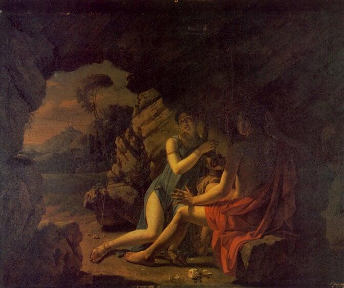 Sappho et Phaon Chantant Leurs Amours Dans Une Grotte   Martin Drolling   Oil Painting