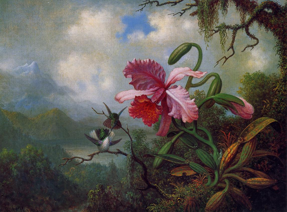 Orchid and Hummingbirds near a Mountain Lake 1875-1890 | Martin Johnson Heade | Oil Painting