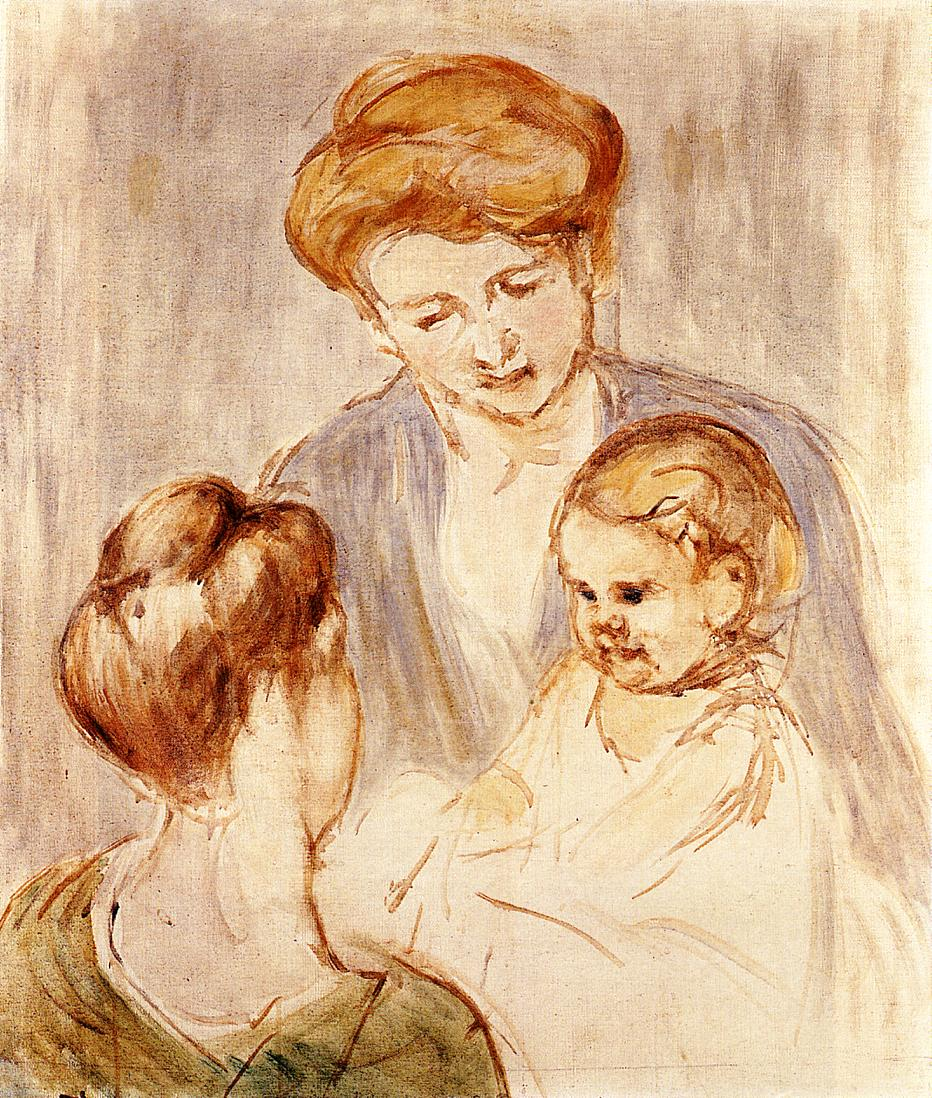 A Baby Smiling at Two Young Women | Mary Cassatt | Oil Painting
