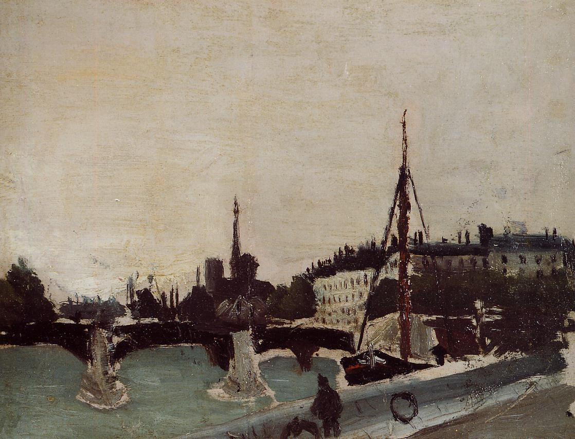View of the Ile Saint-Louis from the Quai Henri IV (study)  1909 | Henri Rousseau | Oil Painting