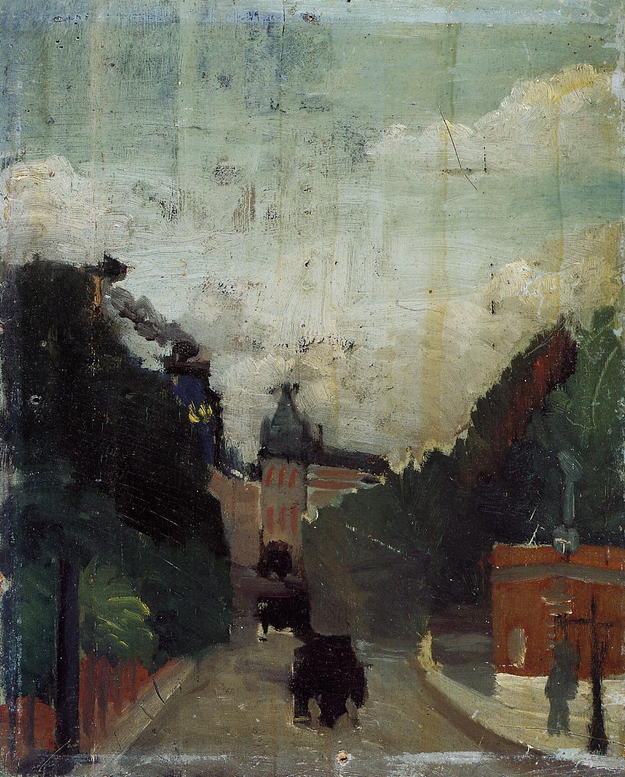 View of the Palais du Metropolitan (study) 1909 | Henri Rousseau | Oil Painting