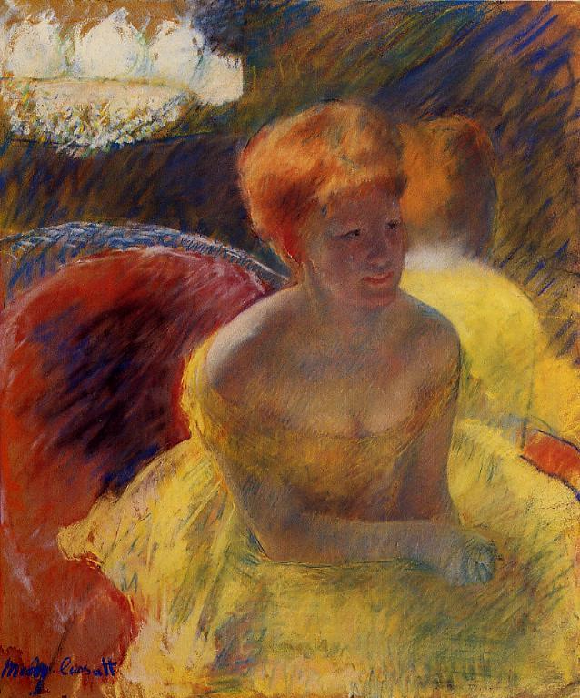 At the Theater (aka Lydia Cassatt Leaning on Her Arms Seated in a Loge) 1880 | Mary Cassatt | Oil Painting