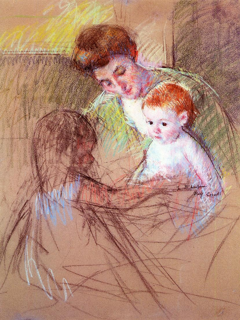 Mother and Daughter Looking at the Baby 1905 | Mary Cassatt | Oil Painting