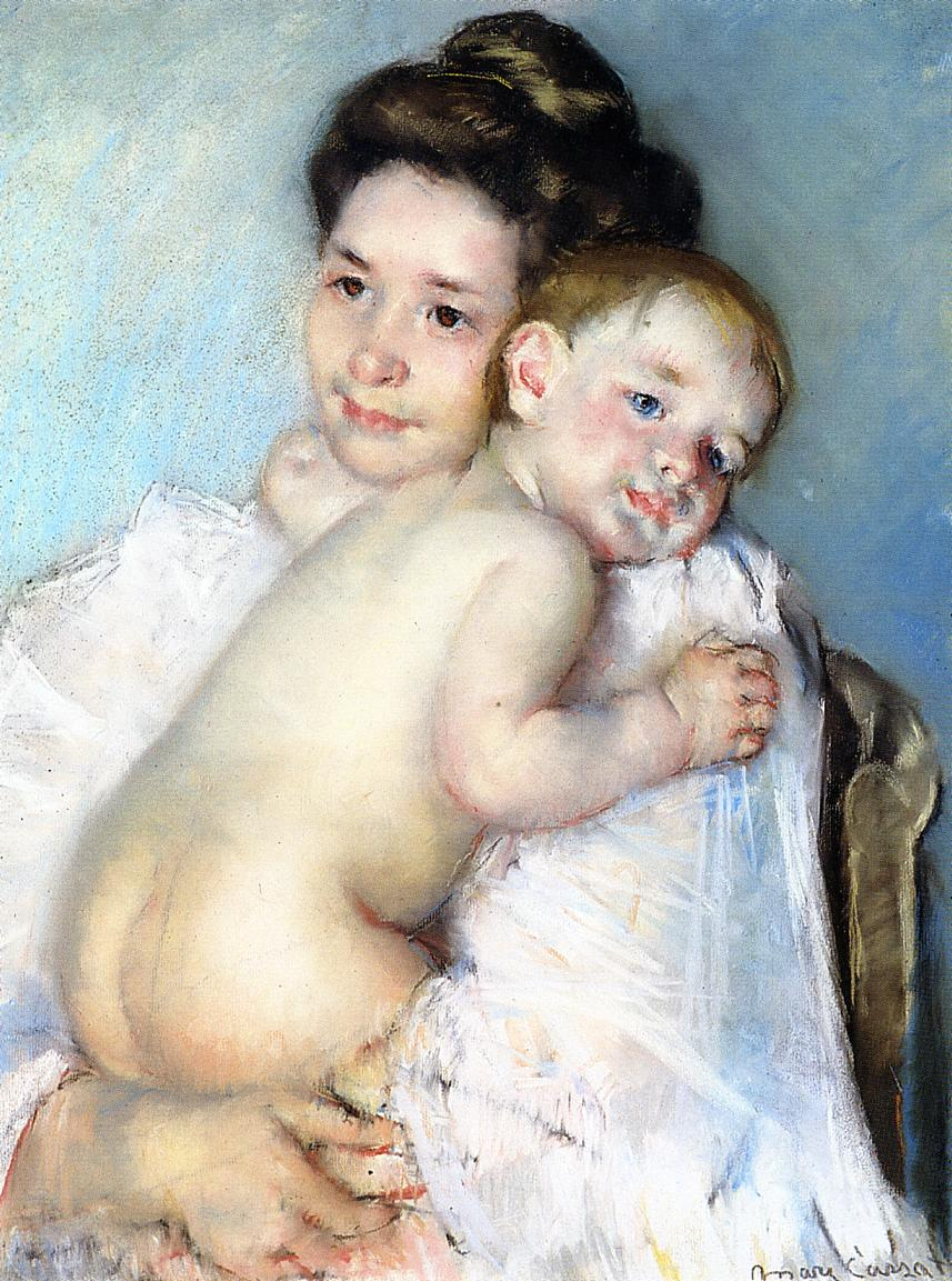 Mother Berthe Holding Her Baby 1900 | Mary Cassatt | Oil Painting