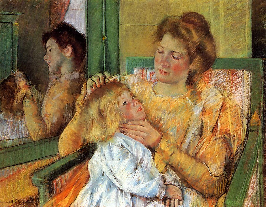 Mother Combing Her Child's Hair 1898 | Mary Cassatt | Oil Painting