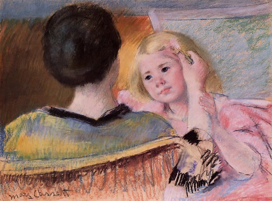 Mother Combing Sara's Hair (no.2) 1901 | Mary Cassatt | Oil Painting