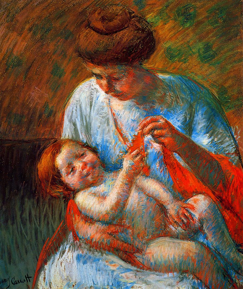 Baby Lying on His Mother's Lap Reaching to Hold a Scarf 1914 | Mary Cassatt | Oil Painting