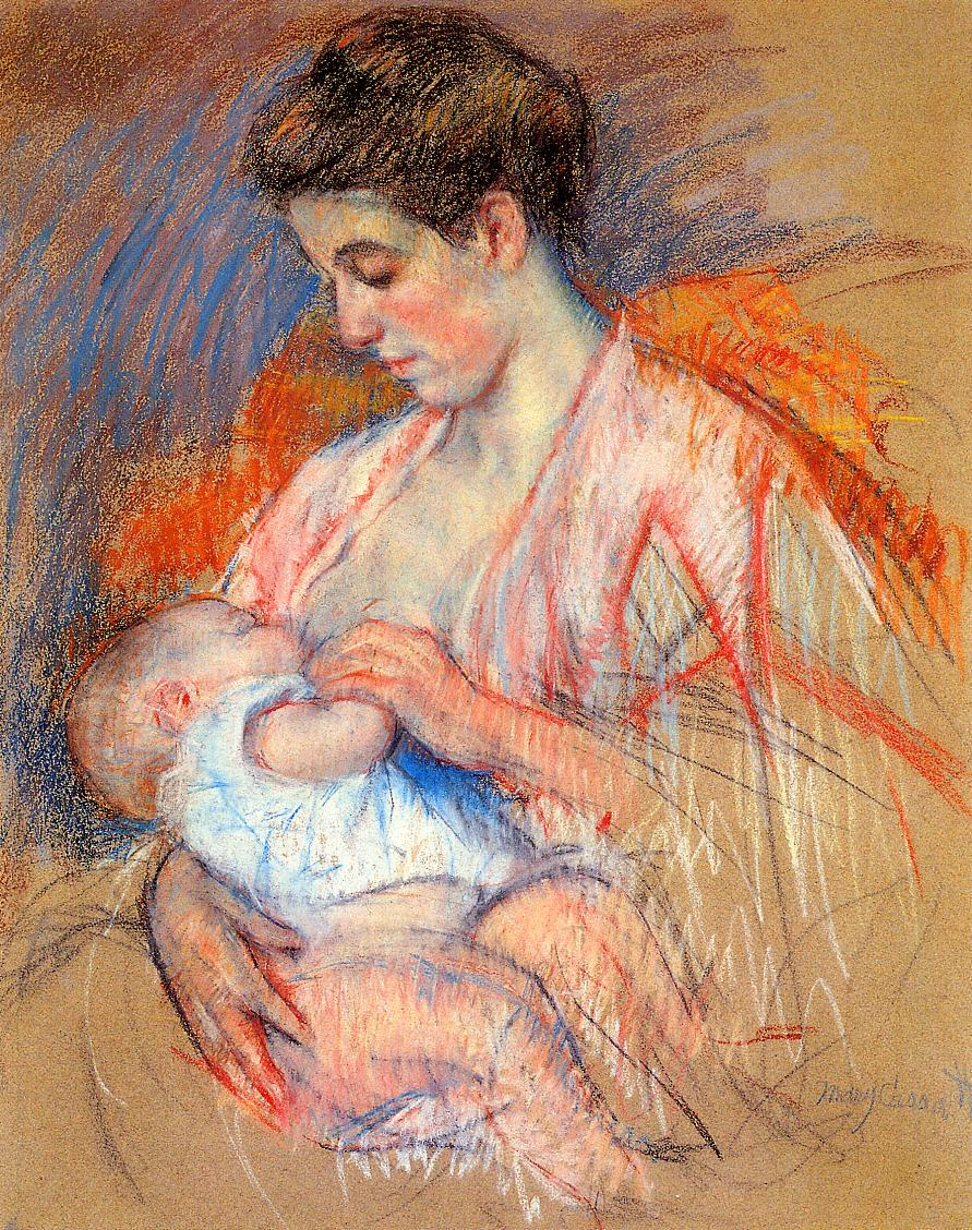Mother Jeanne Nursing Her Baby 1907-1908 | Mary Cassatt | Oil Painting