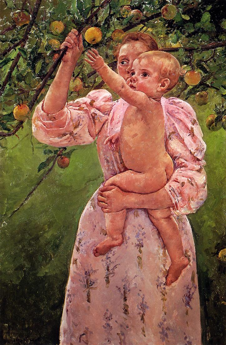 Baby Reaching for an Apple (aka Child Picking Fruit) 1893 | Mary Cassatt | Oil Painting