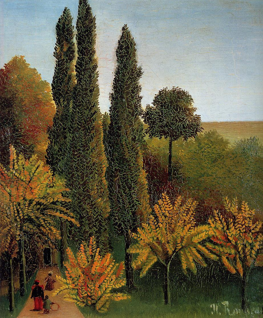 Walking in the Parc des Buttes-Chaumont 1908-1909 | Henri Rousseau | Oil Painting