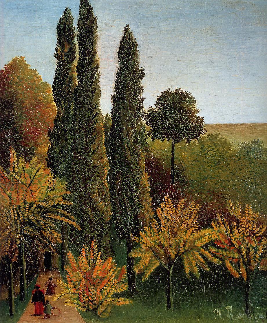Walking in the Parc des Buttes-Chaumont 1908-1909 | Henri Rousseau | Oil Painting