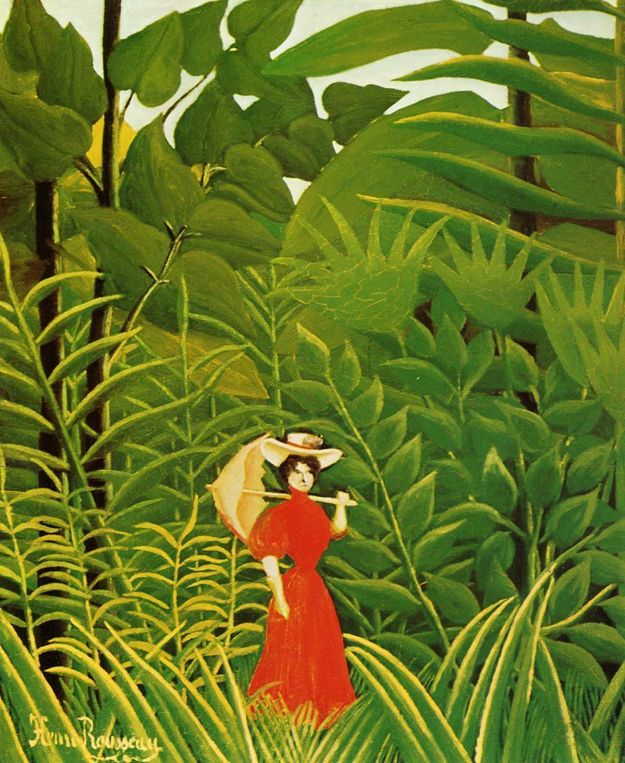 Woman with an Umbrella in an Exotic Forest 1907 | Henri Rousseau | Oil Painting