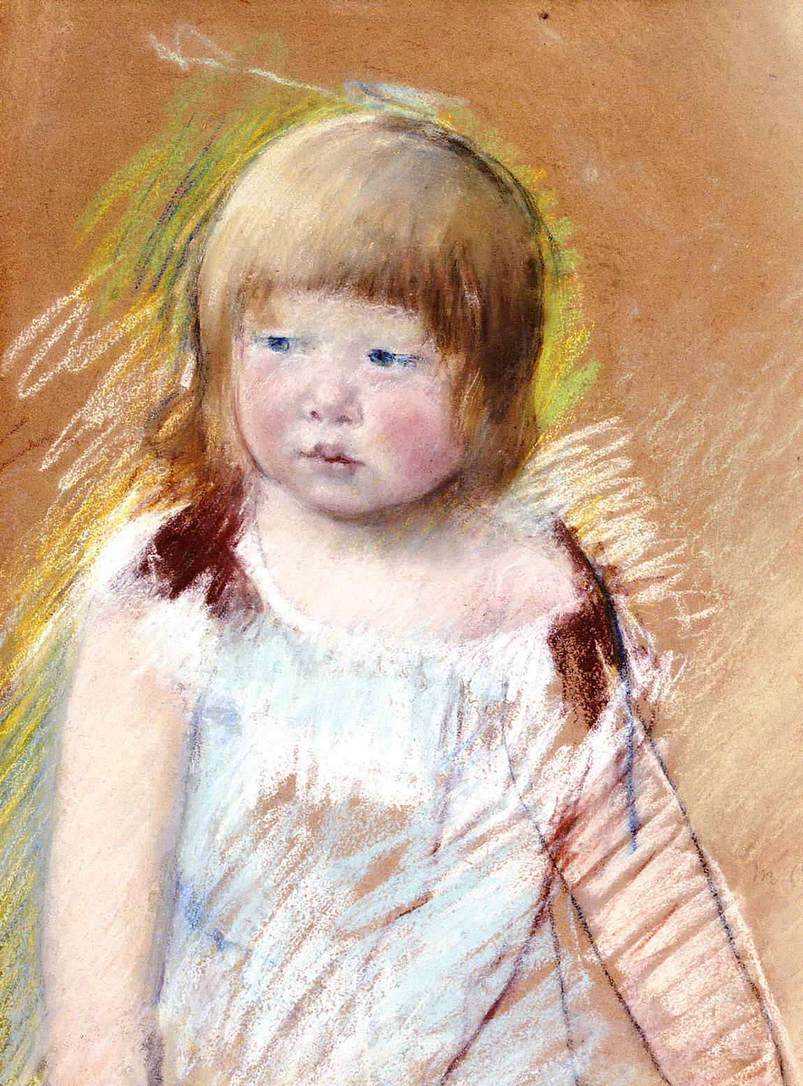 Child with Bangs in a Blue Dress 1910 | Mary Cassatt | Oil Painting