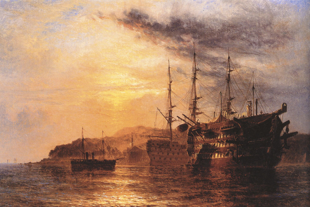 A Three Deck laying by a Hulk with a Steamship heading to shore off the Devonshire coast   Henry Dawson   Oil Painting