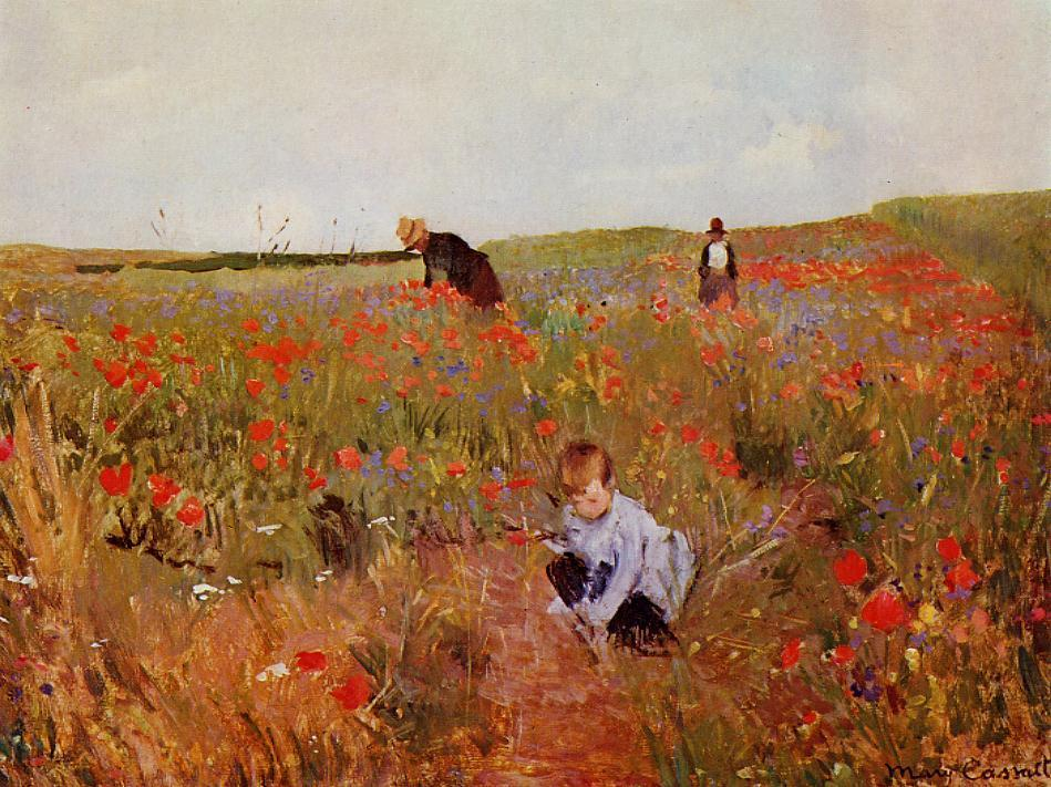 Poppies in a Field 1874-1880 | Mary Cassatt | Oil Painting