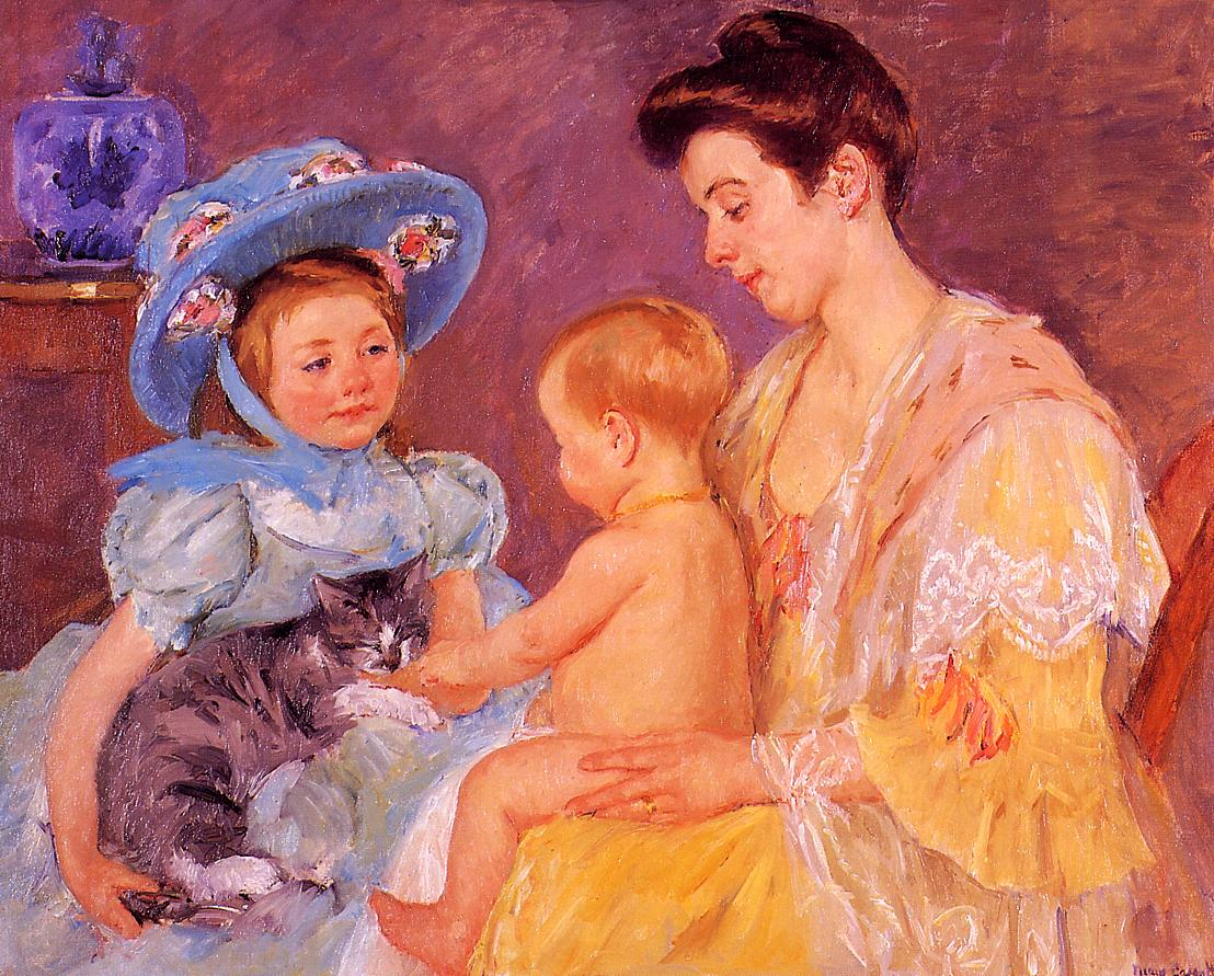 Children Playing with a Cat 1908 | Mary Cassatt | Oil Painting