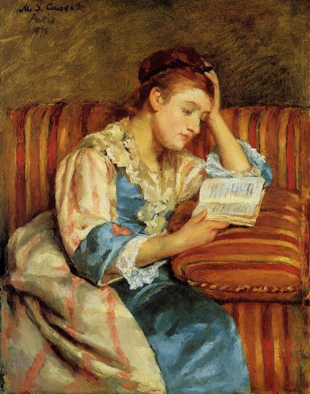 Mrs. Duffee Seated on a Striped Sofa Reading 1876 | Mary Cassatt | Oil Painting