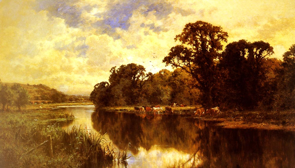Cattle Watering on a River Bank | Henry Hillier Parker | Oil Painting