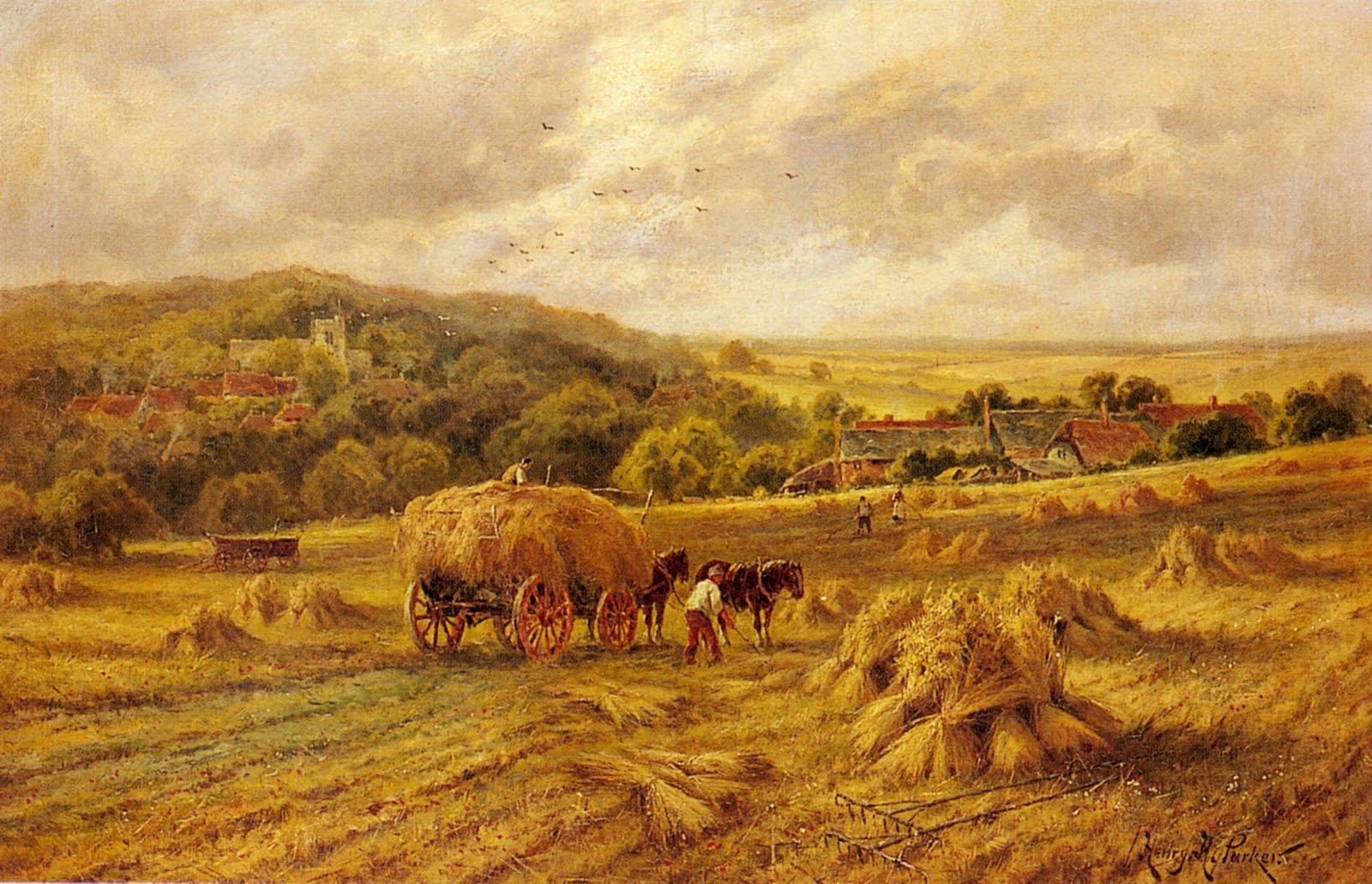 Harvest Time Lambourne Berks | Henry Hillier Parker | Oil Painting