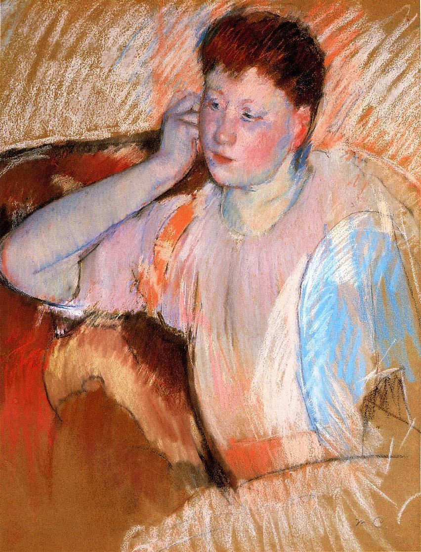 Clarissa Turned Left with Her Hand to Her Ear 1895 | Mary Cassatt | Oil Painting
