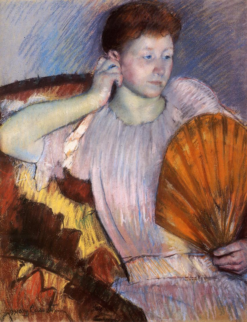 Contemplation (aka Clarissa Turned Right with Her Hand to Her Ear) 1891-1892 | Mary Cassatt | Oil Painting