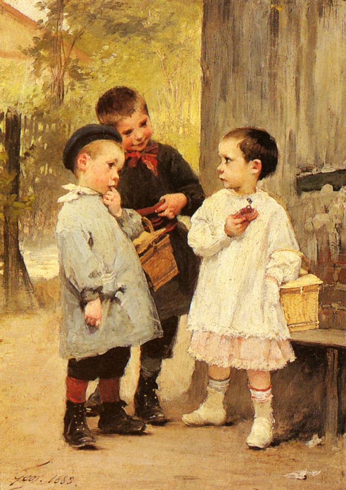 Give Me A Bite | Henry Jules Jean Geoffroy | Oil Painting