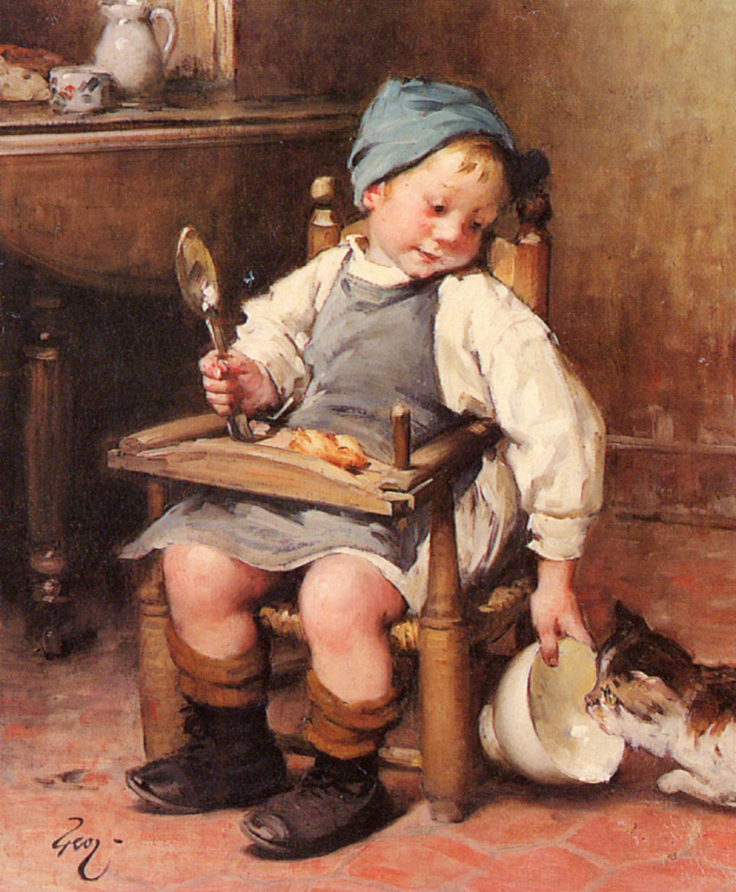 Sharing A Meal | Henry Jules Jean Geoffroy | Oil Painting