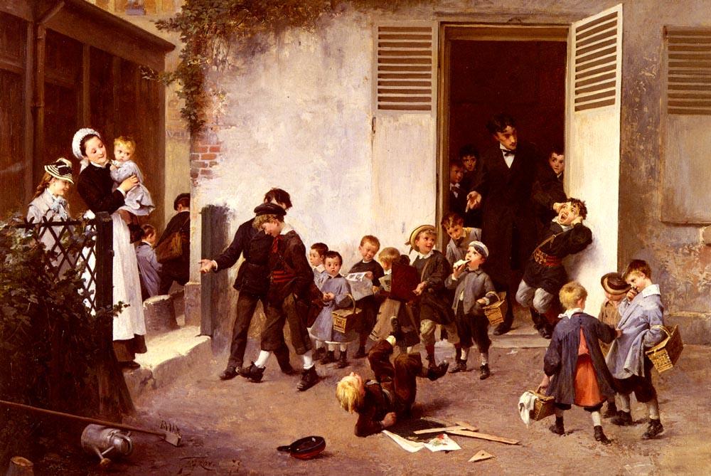 La Sortie De L Ecole | Henry Jules Jean Geoffroy | Oil Painting