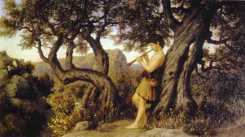 A Shepherd Playing Flute | Henryk Hector Siemiradzki | Oil Painting