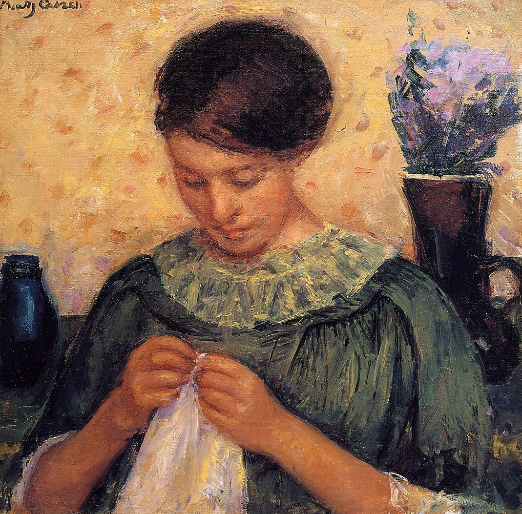 Woman Sewing 1913-1914 | Mary Cassatt | Oil Painting