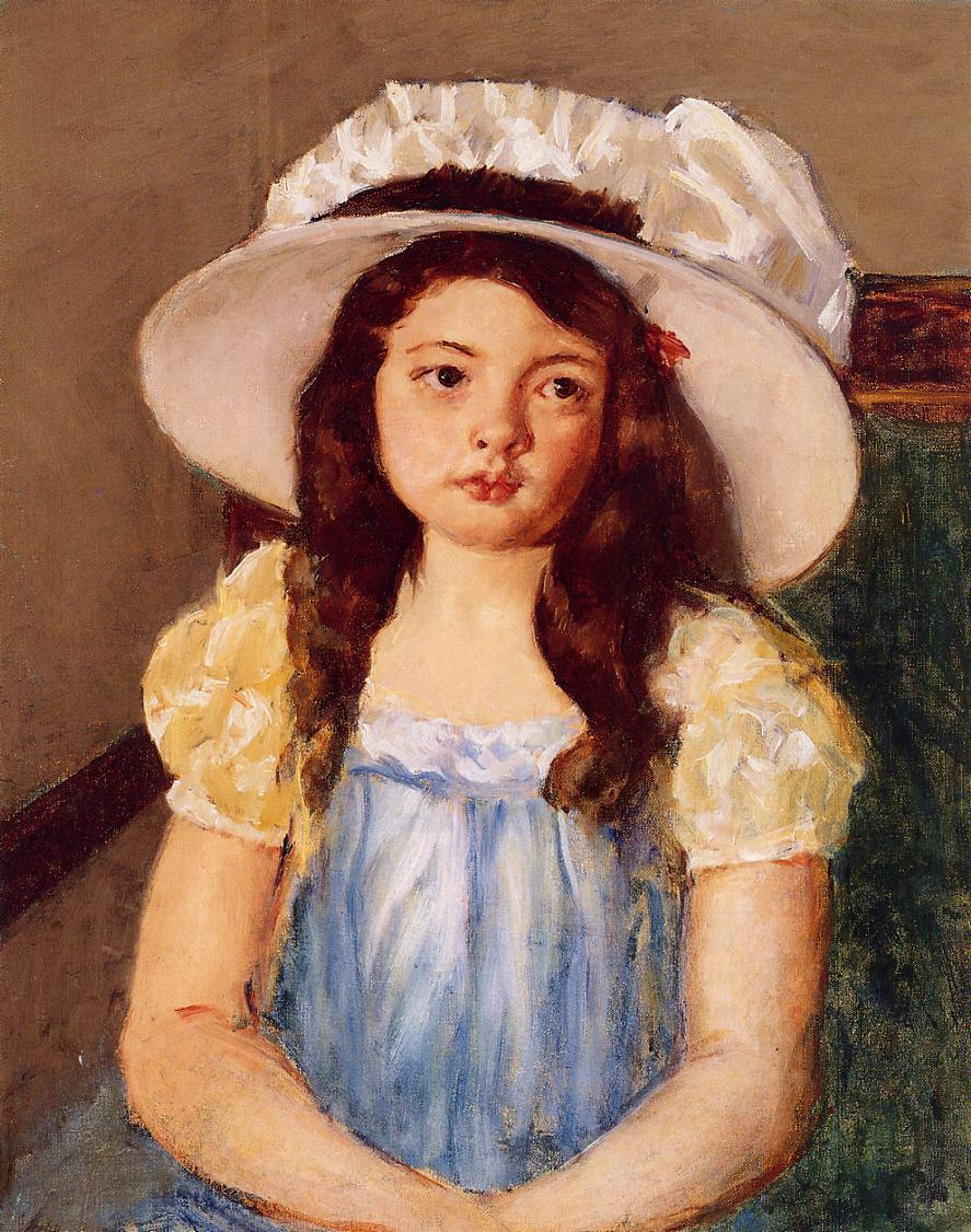 Francoise Wearing a Big White Hat 1908 | Mary Cassatt | Oil Painting