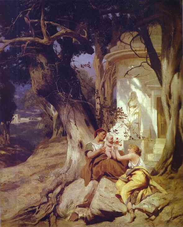 By A Temple (Idyll) 1881 | Henryk Hector Siemiradzki | Oil Painting