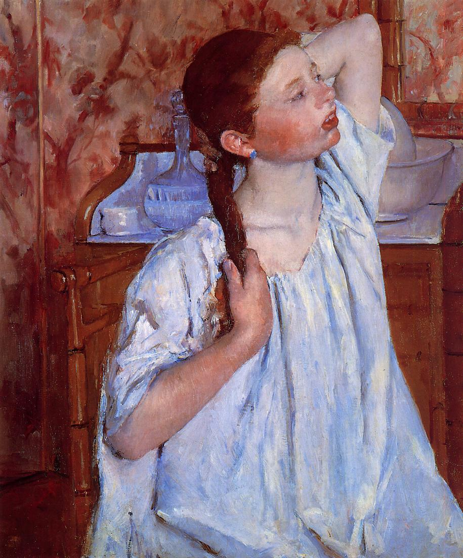 Girl Arranging Her Hair 1886 | Mary Cassatt | Oil Painting
